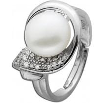 Ring Sterling Silber 925 Süßwasserzuchtperle Zirkonia rhodiniert_278323