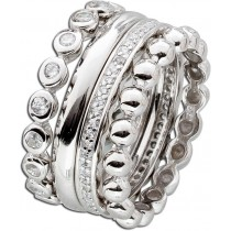 Ring Set 4-teilig Sterling Silber 925 Zirkonia Designer Ring Set_1