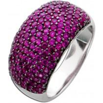 Zirkonia Ring Sterling Silber 925 Rubin farben Fassung geschwärzt