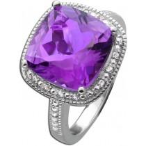 Edelstein-Ring Sterling Silber 925  violetten Amethyst  weissen Topase