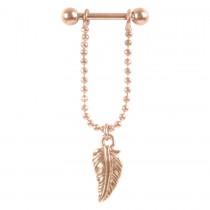 Piercing Barbell Stab 1,2x6mm Federanhänger Helix Ohr Chirurgenstahl PVD rose gold
