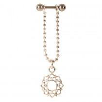 Piercing Barbell Stab 1,2x6mm Mandala Blumen Anhänger Helix Ohr Chirurgenstahl PVD rose gold
