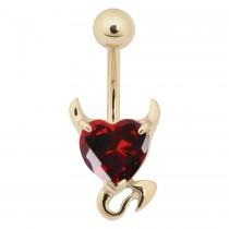Piercing Bananabell Devil Heart Chirurgen Stahl 316L PVD Gold 1,6mm Stabstärke roter Swarovski Kristall