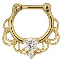 Piercing Septum Titan PVD Gold Klicker 10mm klare Kristalle