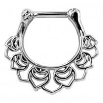 Piercing Septum Stab Chirurgenstahl 316L PVD Silber Ring aus Metall Klicker 10mm