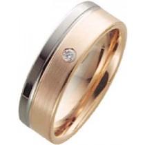 Trauring in Palladium 585/- und Rotgold 585/-, Brill. 0,03ct W/SI, Breite 6,0mm, Stärke 1,6mm, der Ring ist matt poliert, die Gravur der Trauringe sowie das Etui erhalten Sie kostenlos und bei diesen einfarbigen Trauringen - Eheringen ist auch der kostenl