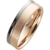 Trauring in Palladium 585/- und Rotgold 585/-, Breite 6,0mm, Stärke 1,6mm, der Ring ist matt poliert, die Gravur der Trauringe sowie das Etui erhalten Sie kostenlos und bei diesen einfarbigen Trauringen - Eheringen ist auch der kostenlose Auffrischungsser