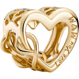 Pandora 14 Karat Gelbgold Love You Mum Infinity Heart 759515C00 Gold Charm 585 massiv