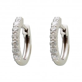Diamant Creolen Weissgold 585 Brillant 0,42ct W/SI2