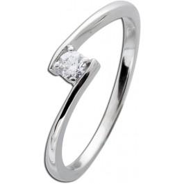 Brillantring Solitär Weißgold 585 14kt Diamant Ring Brillant Vorsteckring 0,15ct W/SI Verlobungsring Verschnittfassung
