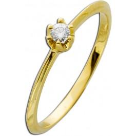 Verlobungsring Diamant Gold 585 Ring Brillant 14kt Vorsteckring Solitär 0,10ct W/SI Krappenfassung