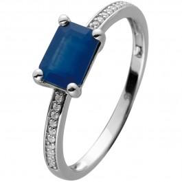 Ring Weißgold 14 Karat 20 Diamanten 0,06ct W/SI 1 Baguette Saphir Edelstein