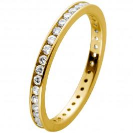 Memoire Alliance Ring Gelbgold 375 mit Zirkonia rundum gefasst Breite 2mm
