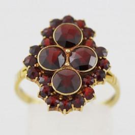 Granatring Gelbgold 585 poliert ausgefallener Schmuckring