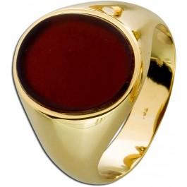 Siegelring Gelbgold poliert 585 Achat Platte