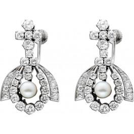 Brillant Ohrringe Ohrhänger Perlen Antik 60er Jahre Weißgold 585 - Diamanten 3,70ct River-TW/SI IGI Zertifikat