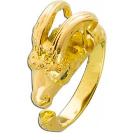 Ring Widder Rosegold 585 Widder als Rinkkopf grüne Smaragd Edelsteine feinste Handarbeit Einzelanfertigung