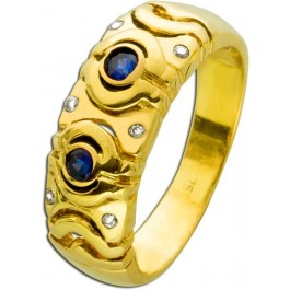 Antiker Saphirring Gelbgold 750 18 Karat 70er Jahre blaue Safire Diamanten