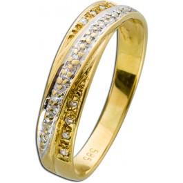 Klassischer Tricolor Ring Weißgold Gelbgold Roségold 585 Diamanten 0,10ct 8/8 W/P