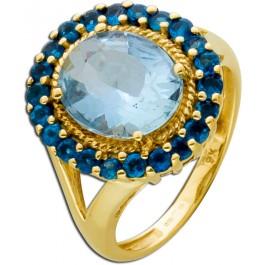 Antiker Lady Di Ring Gelbgold 375  Blautopas