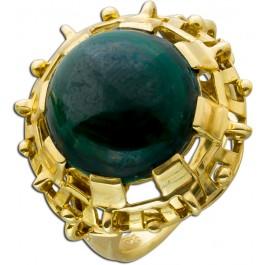 Antiker Malachit-Ring Gelbgold 585 Cabochon 30-er Jahren