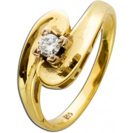 Brillantring Gelbgold 585 Brillant 0,12 ct TW/VSI