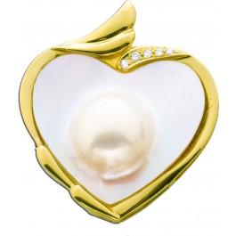 Einhängeclip Anhänger Brosche Gelbgold 750 Herzform Mabeperle 5 Brillianten 0,10ct