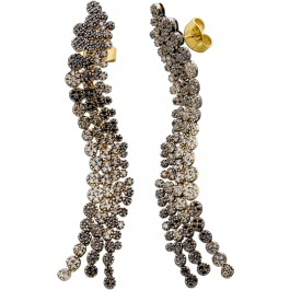 Lange Brillant Ohrhänger Gelbgold Weißgold 750 IGI Zertifikat schwarzen champagnerfarbenen Brillanten 3,05ct  VSI-SI