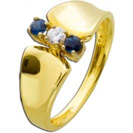 Antiker Saphirring 60er Jahre Gelbgold 585 blaue Saphire Brillant