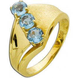 Antiker Blautopasring 50er Jahren Gelbgold 585 rund facettierte Blautopase zusammen 0,75 ct