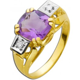 Ring Antik 20er Jahre Gelbgold 585 Amethyst  Diamanten 8/8 W/SI zusammen 0,02ct