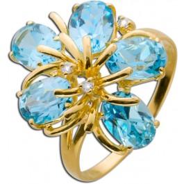 Edelsteinring Gelbgold 750 Blautopas 2 Diamanten 8/8 W/P2