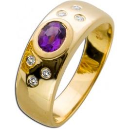 Ring Gelbgold 585 Amethyst und Brillanten