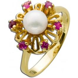 Antiker Perl-Ring Gelbgold 585 japanische Akoyazuchtperlen Rubine