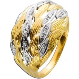Diamantring Gelbgold 750 Diamanten Weisgoldfassung 750 feinste Goldschmiedearbeit Federn fächerförmig Goldschmiedeinzelanfertigung
