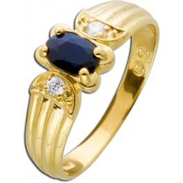 Saphirring Diamantring Gelbgold 585 nachtblauer Saphir Brillanten Edelsteine