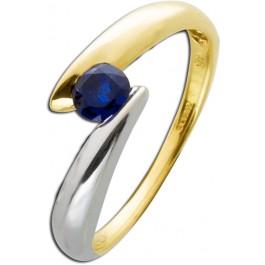 Saphir Ring Gelbgold 333 nachtblauer Saphir elegante Pseudospannfassung Einzelstück
