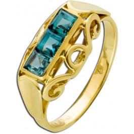 Antiker Turmalin Ring um 1900 Gelbgold 333 leuchtend grüner Turmalin Carree Schliff Einzelstück