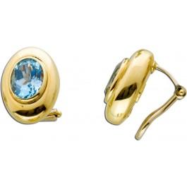 Blautopas Ohrringe Ohrclips Gold 585 facettierte Blautopase  Edelstein Ohrschmuck