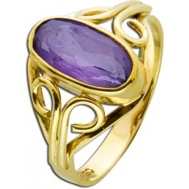 Antiker Ring Gold 333 violett facettierter Amethyst