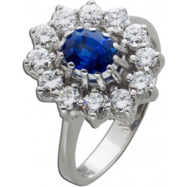 Diamant Ring Lady Di Look Weissgold 585 blauer Saphir Edelstein 1ct Diamanten 1ct TW/VVSI