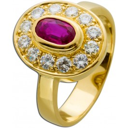 Rubin Ring Gold 750 18kt Edelstein rot pink Brillanten Diamanten Lady Di Stil