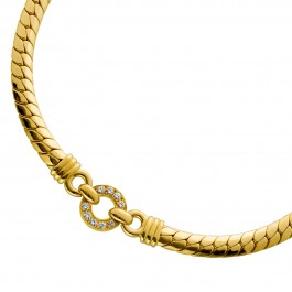 Massives Antikes Brillant Collier Gelbgold 750 Diamant 0,90ct TW/VSI  41cm