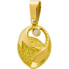 Lapponia Lock Anhänger Gelbgold 750/- Diamant Brillant 0,02ct W/SI Tropfenform