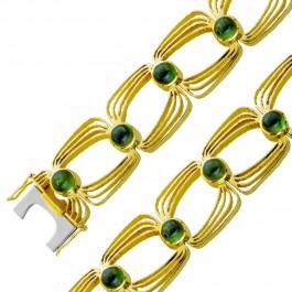 Antikes grünes Turmalin Edelstein Armband Gelb Gold 585 Damen 18,8cm