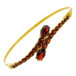 Antiker roter Edelstein Armreif Metall gelb vergoldet runde ovale facettierte Granate 20-er Jahre