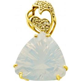 Edelstein Anhänger Gelbgold 375 weiss blau schimmernder Opal dreieckig Diamanten 0,05ct W/P 8/8-Schliff