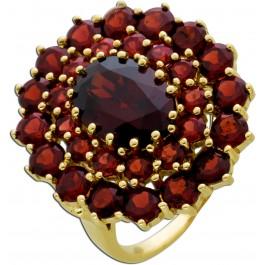 Antiker Edelstein Granat Ring um 1950 Gelb Gold 333/- rund oval facettiert krappengefasst