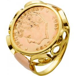 Antiker Münzring Vintage Gelbgold 585 Schiene John F. Kennedy Münze Gelbgold 900 17,3mm