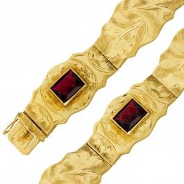 Antikes Granat Edelstein Armband Gelbgold 585 rechteckig facettierte Granate bewegliche Glieder Länge 17,9cm 13,4 Gramm